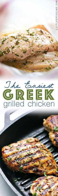 The easiest Greek grilled chicken recipe that's perfect for weeknight dinner! The quick greek marinade is made with red wine vinegar, garlic, and olive oil.
