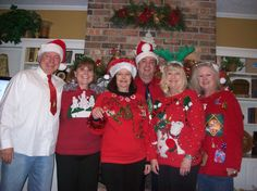Tacky Christmas Sweater party. Jackson, me, Pam, Terry, Angie and Connie.