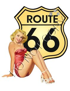 Route 66 sign cutie Pinup Decal s231 [s231] - $0.10 : Pin Ups Plus - Retro Pinup Decals