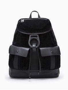 calvin klein mens velvet drawstring backpack black velvet
