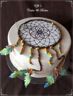 Dreamcatcher - Cake by Effi Birthday Desserts, Birthday Cakes, Native American Cake, Dream Catcher Cake, Bohemian Cake, Fondant Tips, Geronimo, Cute Cakes, Celebration Cakes