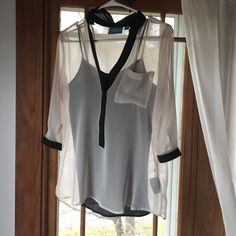 Simply Vera sheer top Simply Vera sheer cream too with black detailing around collar and sleeve with tank underneath. Simply Vera Vera Wang Tops Blouses