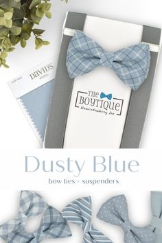 Fall is in the air with our Dusty Blue bow tie and suspender set. The perfect finishing touch to your Dusty Blue Groomsmen Outfit and the best match for your ring bearer, too! Click through to see all of our color and style options! #dustybluebowtie #dustybluewedding #bowtieandsuspenders #weddingaccessories #weddingattire #groomsmen #weddingplanning Blue Groomsmen, Groomsmen Outfits, Groom And Groomsmen Attire, Wedding Ring For Her, Bow Tie Wedding, Daddy And Son, Ring Bearer Outfit, Blue Bow Tie