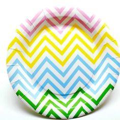 Lot de 12 assiettes papier chevrons multicolores diam. 18 cm