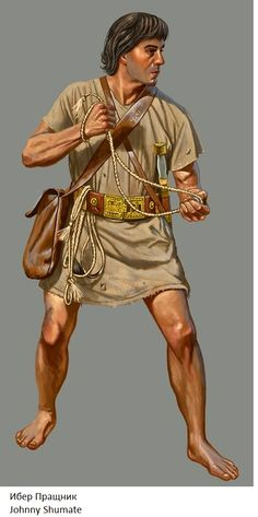 Balearic slinger highly coveted by ancient generals and armies for their accuracy and range with the sling which was second to none in the ancient world. They carried 3 slings of differing sizes for use at different ranges and for different size shot. They could even out range bows of the time. Legend has it that Balearic children weren't allowed to eat until they were able to strike their food which was placed at a distance.
