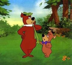 Yogi l'ours (Yogi Bear) et boubou. Yogi l'ours (Yogi Bear) est un personnage de fiction apparu pour la première fois en 1958 dans la série télévisée d'animation homonyme produite par Hanna-Barbera. Portant chapeau et cravate, c'est un amateur de pique-niques qui n'hésite pas à rivaliser de ruse pour dérober celui des promeneurs du parc national de Jellystone, clairement inspiré par le parc national de Yellowstone.