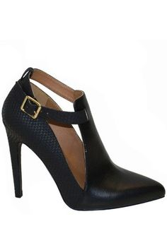 VIRTUE SNAKE ACCENT POINTED TOE HEELS - BLACK$39.00