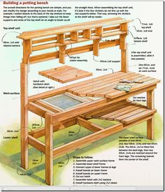Are you sick of dirt inside your house during planting time? A potting bench is a great solution to that problem. Here are some inspiring potting bench ideas and potting bench plans so you can build your own potting table. DIY pallet potting bench & more! Outdoor Potting Bench, Potting Bench Plans, Potting Tables, Potting Sheds, Potting Bench With Sink, Outdoor Storage, Backyard Projects, Outdoor Projects, Garden Projects