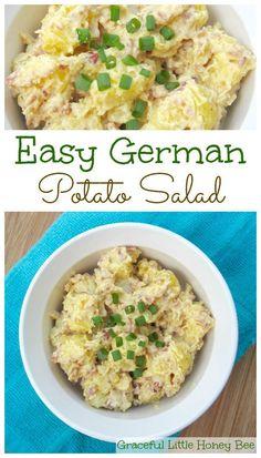 Easy and delicious German Potato Salad recipe on gracefullittlehoneybee.com