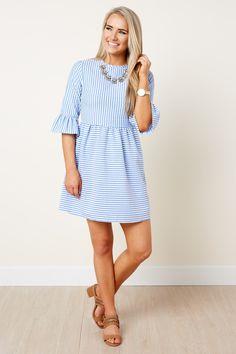 Cute Striped Dress - Seersucker Dress - Ruffle Sleeve Dress - $39.00
