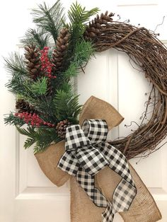 Christmas Wreath, Christmas Front Door Wreath, Christmas Decor, Winter Wreath, Christmas Wreaths for Front Door Christmas Decorations, Christmas Front Doors, Front Door Decor, Holiday Wreaths, Winter Wreaths, Rustic Christmas, Christmas Crafts, Christmas Movies, Xmas