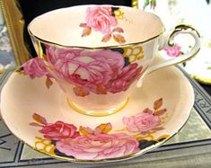 AYNSLEY tea cup and saucer PINK cabbage rose pattern teacup peach pink painted