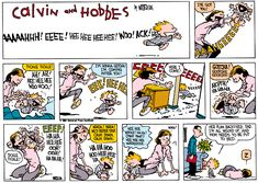 Calvin and Hobbes, MOM - Whoa! Whoa! We'd better stop. Calm down, calm down. ...Ha ha hoo hoo hee hee ha. Hee hee ...whoof! ...Ha ha! (pant pant) hee hee hee wheeeeeeee ...Her plan backfired, Dad. I'm all wound up, and Mom needs to be put to bed.