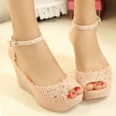 2013 summer open toe cutout sandals female bird's-nest jelly shoes wedges plastic platform wedges sandals candy color shoes