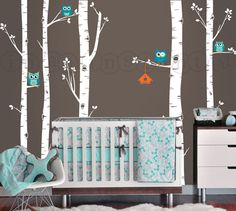 Owls and Birch Tree Forest Wall Decal Birch by InAnInstantArt, $78.00