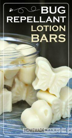 Homemade Bug Repellent Lotion Bars | http://www.homemademommy.net #essentialoils #coconutoil #essentialoils