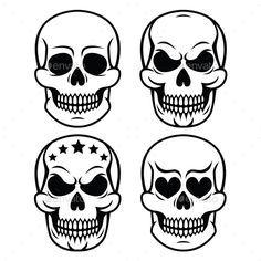Vector icons set of skulls isolated on white FEATURES: 100 Vector Shapes All groups have names All elements are easy to modify y