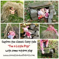 Sun Hats & Wellie Boots: The 3 Little Pigs - Reading, Playing & Building Outdoors! / I like this acting out of the story. 3 Little Pigs Activities, Fairy Tale Activities, Outdoor Activities For Kids, Outdoor Learning, Outdoor Play, Preschool Activities, Traditional Tales, Traditional Stories, Fairy Tale Theme