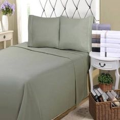 Superior Light Weight and Super Soft Brushed Microfiber, Wrinkle Resistant Pillowcase Set with 5-Line Embroidery, Blue