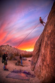 Rock climbing in Indian Cove, Joshua Tree National Park, CA at sunset  Photo by Daniel Peckham. Didn't do the rock climbing, but the Joshua trees were interesting.