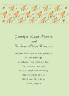 How To Wright Great Wedding Invitations Green Wedding Consortium  Traditional Wedding Invitation Wording