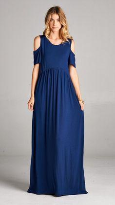 Cold-Shoulder Maxi Dress - Flirt Boutique