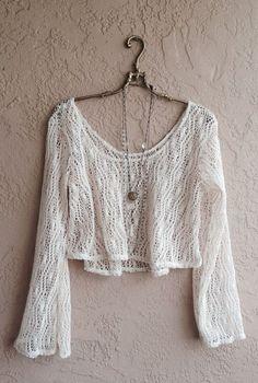 Gypsy Hippie Bohemian Bell Sleeves crochet open weave crop sweater
