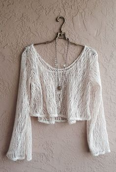 Gypsy Hippie Bohemian Bell Sleeves crochet open weave crop sweater