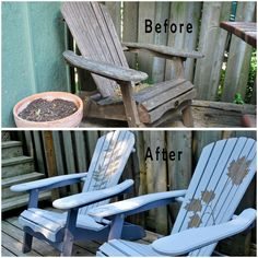 before-and-after - reverse stenciled Adirondack chairs