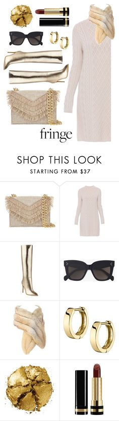 """""""Fringe and Gold"""" by rev2fashion ❤ liked on Polyvore featuring Cynthia Rowley, 'S MaxMara, GUESS, CÉLINE, Pat McGrath, Gucci and fringe"""