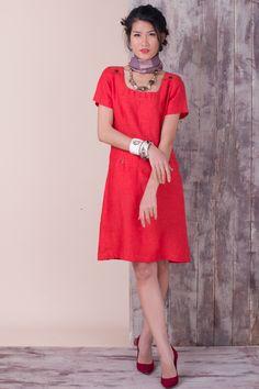 Orange linen dress for summer 2017