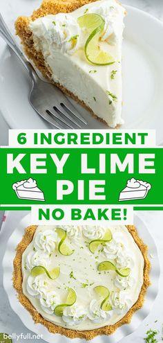 Easy Pie Recipes, Baking Recipes, Dessert Recipes, Easy Key Lime Pie Recipe No Bake, Recipe With Limes, No Bake Key Lime Pie Recipe, Weight Watchers Key Lime Pie Recipe, Lime Recipes Healthy, No Bake Recipes