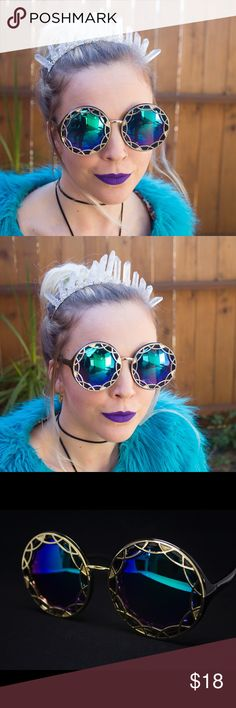 New! Green/Blue Oversized Ornate Burner Sunnies Beautiful brand NWT in packaging black oversized round sunglasses with ornate gold geometric detailing and blue/green reflective uv400 lenses. Frames are plastic with metal detail. Absolutely perfect for Coachella or LiB or any festivals you may be going to 💖The lens colors look more green/blue depending on the light. These are super cool!!🌞🌈💕☺️ ask about my 2/$25 bundle deal on sunnies! Check out my other listings for more color options…