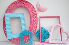 Shabby chic # ornate # frame collection #  Homco # wall decor # pinks # teal # little girls room # nursery  #