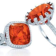 Tiffany & Co. fire opal rings.