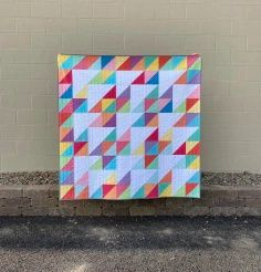 Triangle Twizzle Quilt Pattern by Monday Morning Designs | Fabric: Riley Blake Designs Confetti Cotton Modern Quilt Blocks, Modern Quilting, Half Square Triangles, Quilt Patterns, My Etsy Shop, Quilts, Sewing, Fun, Color