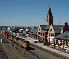 Union Pacific Railroad Depot, a National Historic Landmark and listed on the National Register of Historic Places, built Cheyenne, Wyoming. Places Ive Been, Places To Visit, Cheyenne Wyoming, Union Pacific Railroad, Train Tracks, Vacation Spots, Travel Usa, National Parks, Train Stations
