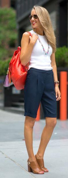 navy bermuda shorts, @kendrascott tassel necklace, brown leather slingback mules + coral tassel backpack