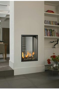 The Vertical Bell Small Tunnel fire is a stunning gas fire which would add character to any room or living space. The Vertical Bell Small Tunnel is a very stylish see through fire that can act as a great room divider. Double Sided Fireplace, Small Fireplace, Home Fireplace, Modern Fireplace, Fireplace Design, Living Room Modern, Home Living Room, Small Living, Living Spaces