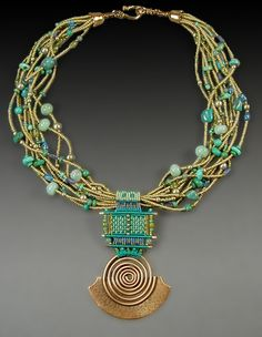 "Joan Babcock Jewelry - ""Captiva"" Seed Beads, Turquoise, Amazonite, Glass beads, Nylon Cord, Red Brass. Original has been sold."