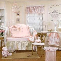 BEDDING: Once upon a time there was a beautiful girl. This enchanting collection with romantic flair will create a lovely nursery for your little princess. The collection showcases an arrangement of gorgeous fabrics such as satin, taffeta, tulle and intricate prints.
