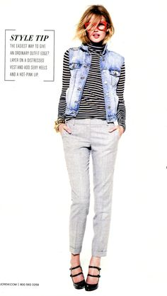 J.Crew - Striped turtleneck, denim vest and neutral pants