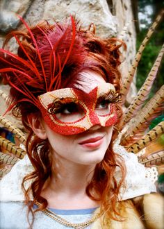 Could I pull this off?  !!  Pheonix  OOAK Beaded Masquerade Ball Mask in Red by artisanmaskers, $200.00