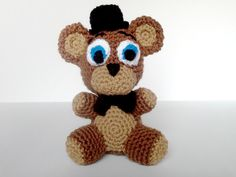 Five Nights at Freddys Crochet Freddy Fazbear by BritneyPringleArt | Here is an adorable plushie of Freddy Fazbear from the game Five Nights at Freddy's. This item is made to order with 100% acrylic yarn and stuffed with polyester fiberfill.The plushie measures approximately 8 inches tall. #fnaf