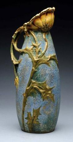 Amphora Ceramic Monumental Thistle Pitcher.