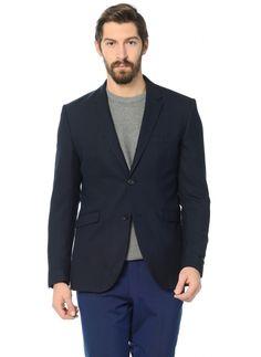 Синий мужской пиджак под джинсы по супер выгодной цене 11900 руб руб, с  бесплатной доставкой по Москве и России без предоплаты. В наличие размеры  60, 48, ... 75030012419