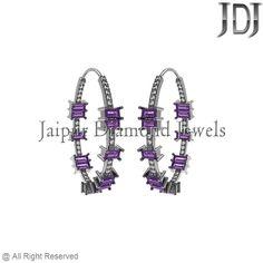 3.3ct Amethyst Baguettes Diamond Sterling Silver Gorgeous Hoop Earrings Jewelry #Handmade #Hoop