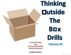 Thinking Outside The Box Drills- Volume #2 (PowerPoint)These drills are designed to cultivate critical thinking skills in your students. Through creativity and design, students will plan a vast array of machines, mechanisms, and inventions. Once done, they will reflect on what theyve designed and share their ideas with others.This set includes 26 scenarios where the student is given 3 items which they must use to design something useful that will have a positive impact on the world around…