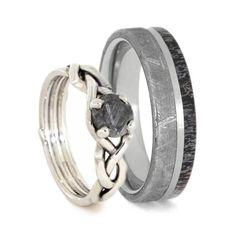 Nature Inspired Meteorite Wedding Ring Set, Antler Wedding Band And Sterling Silver Engagement Ring-2539
