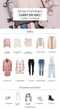 Spring Carry-on Only Wardrobe for Copenhagen - Light Packing Travel Wardrobe, Capsule Wardrobe, Travel Capsule, Travel Packing, Packing Hacks, Packing Ideas, Fashion Advice, Fashion Outfits, Women's Fashion